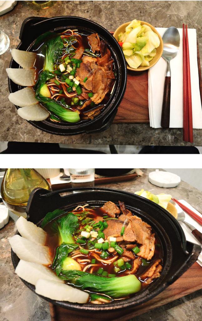牛肉麺、白菜はおまけ