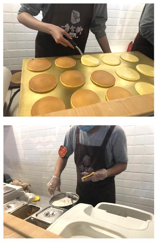 章台柳どら焼き店調理の様子写真