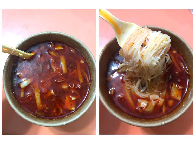 螺蛳粉カップ麺、完成後の中身