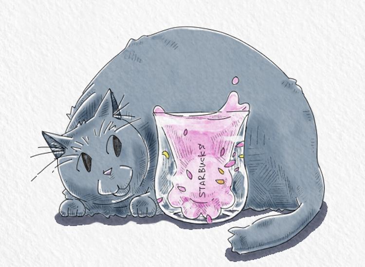 星巴克猫爪杯スタバの猫足コップイラスト
