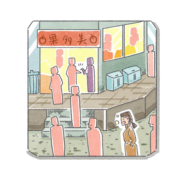 行儀よく間隔を開けて並ぶ買い物客たち