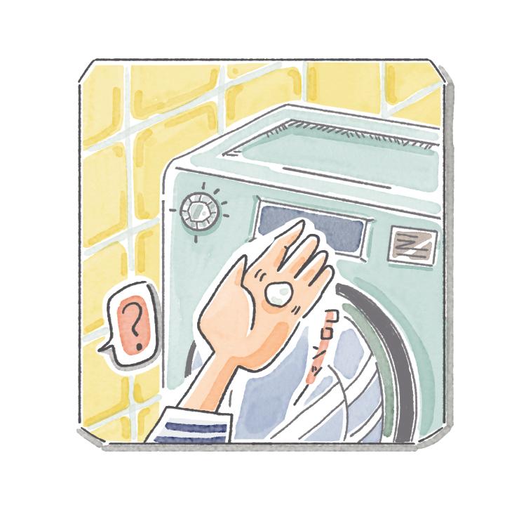 洗濯機の中に入り込んだ繭玉かと思った